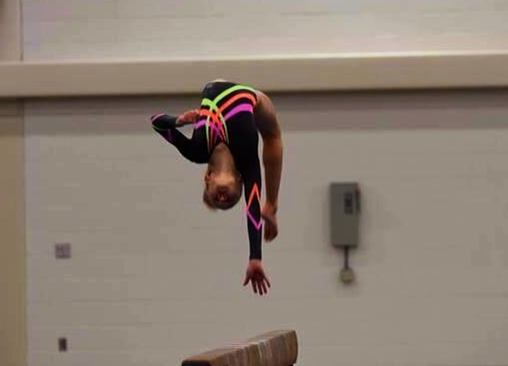 Sara Purdue- one arm back handspring on Beam